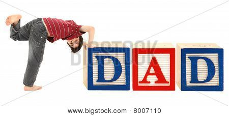 Alphabet Blocks And Adorable Boy Dad