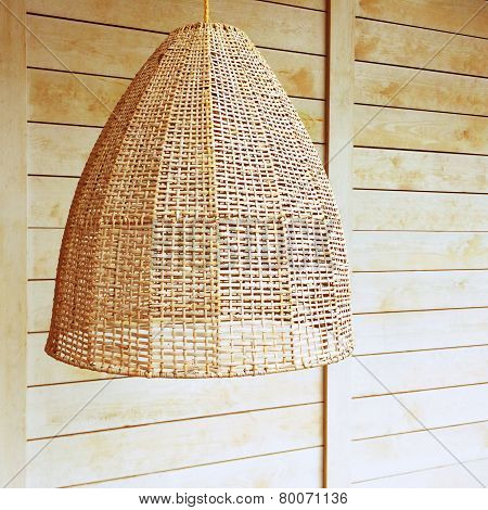 Pendant Light With Wicker Lampshade