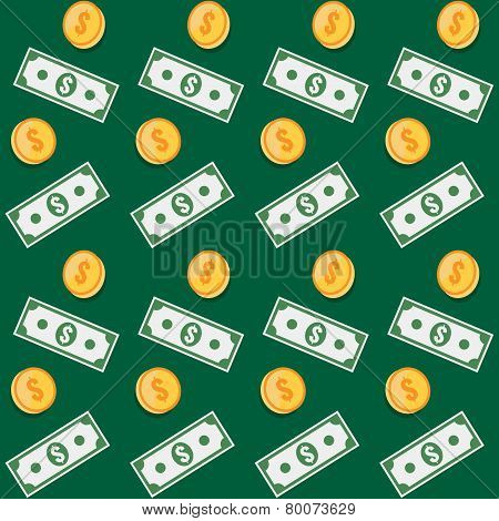 Seamless Pattern. Coin And Paper Money Symbols.
