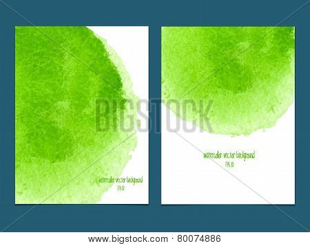Vector Background With Watercolor Green.