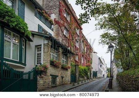 Rue Cortot in the Montmartre district in Paris, France