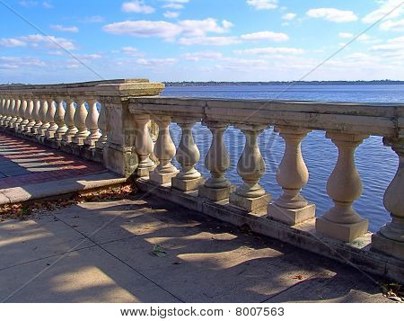 Old weathered bayfront walkway railing