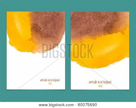 Vector Background With Watercolor Yellow And Brown.