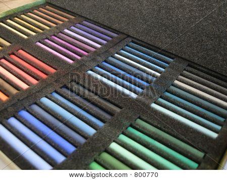 set of color crayon in a box