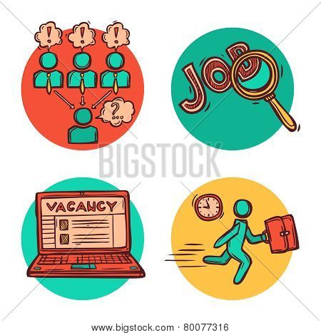 Job business concept icons composition