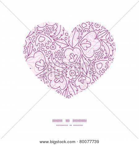 Vector pink flowers lineart heart silhouette pattern frame