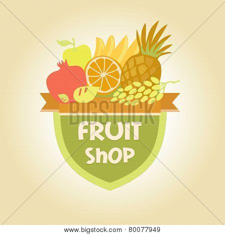 Vector logo for a store of fruits, fruit juice labels. Guaranteed quality and fresh fruit
