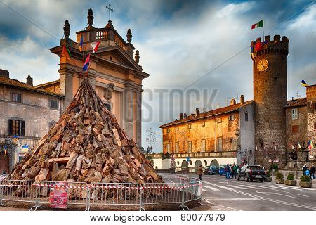 Tree Trunks For Bonfire Of Saint Anthony Bagnaia Italy