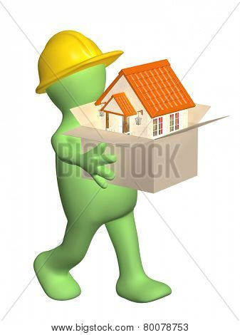 Builder bearing a box with house in hands. Isolated on white background