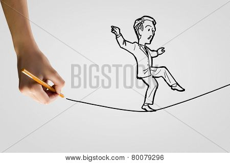 Funny caricature of businessman walking on rope