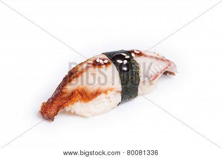 Unagi nigiri sushi made of smoked eel
