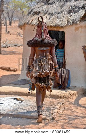 Hairstyle of unidentified woman from Himba tribe