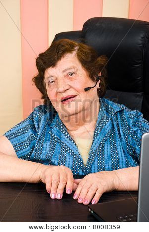 Portrait Of Elderly Customer Service