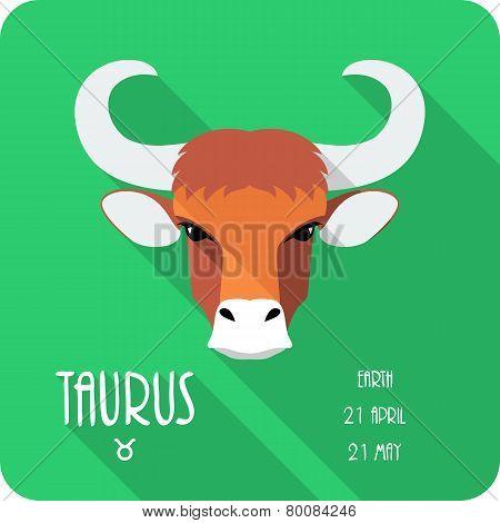 Zodiac sign Taurus icon flat design