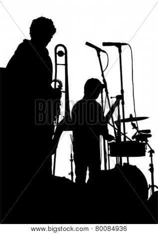 Music man whit trumpet  on white background