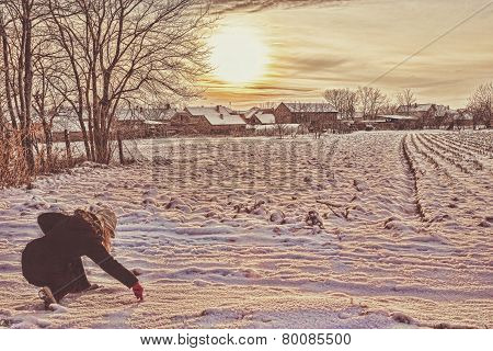 Woman In Winter Clothes In Snow Drawing With Finger Love