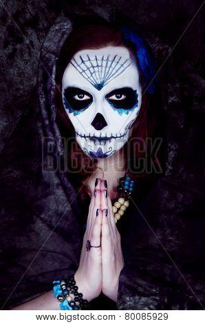 Woman Witch With Scary Makeup.dia De Los Muertos
