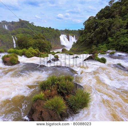 Waterfalls in Brazil. Fantastically spectacular boiling and thundering waterfalls of Iguazu. The picture was taken Fisheye lens