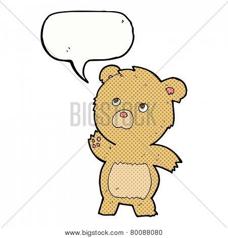 cartoon curious teddy bear with speech bubble
