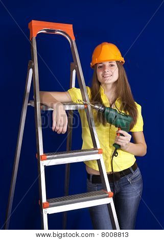 Young Woman With Drill