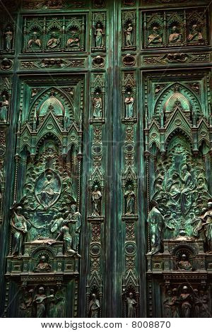 Bronze Door Duomo Cathedral Florence Italy
