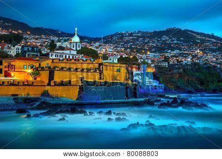 View of old castle Fortaleza de Sao Tiago. Funchal, Madeira, Portugal