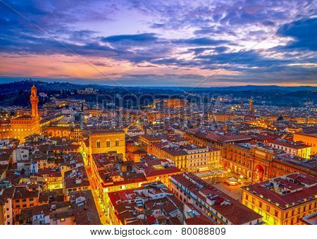 Night view of Florence, Italy. HDR