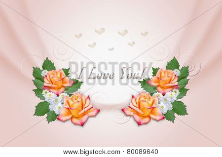 Yellow roses and asters on wavy pink background