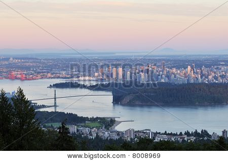 Lions Gate Bridge And Downtown Vancouver