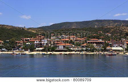 Ouranoupoli on coast of Athos in Greece.