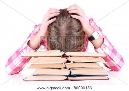 Girl fell asleep for books isolated on white