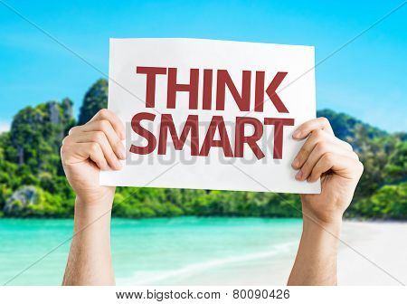 Think Smart card with a beach on background