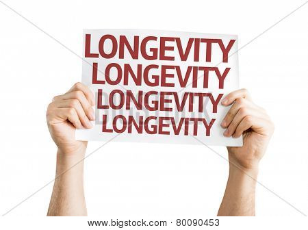 Longevity card isolated on white background