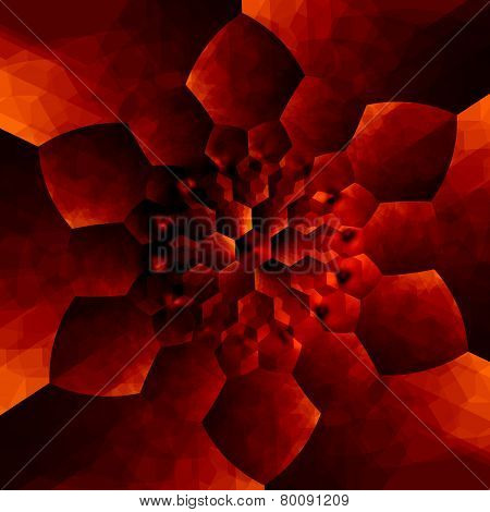 Orange concentric flower pattern. Abstract background for design artworks. Kaleidoscopic mandala.