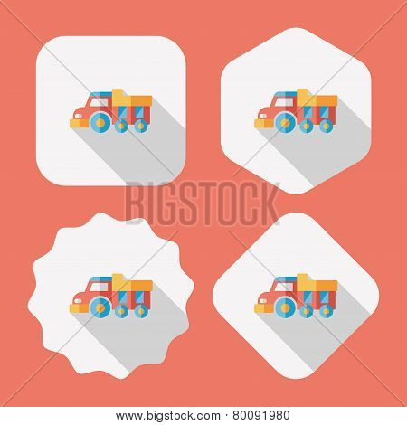 Dump Truck Flat Icon With Long Shadow