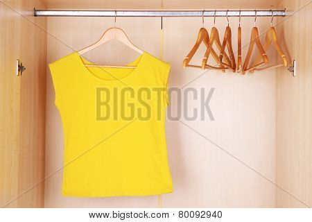 Female T-shirt with hangers in wardrobe