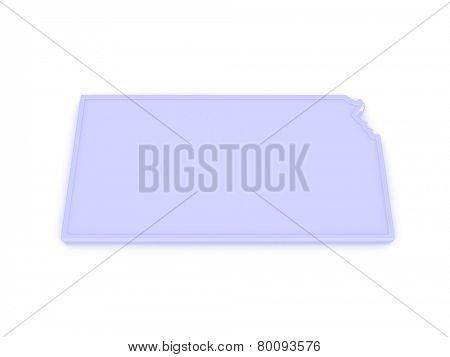 Three-dimensional map of Kansas. USA. 3d