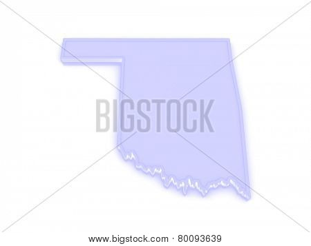 Three-dimensional map of Oklahoma. USA. 3d