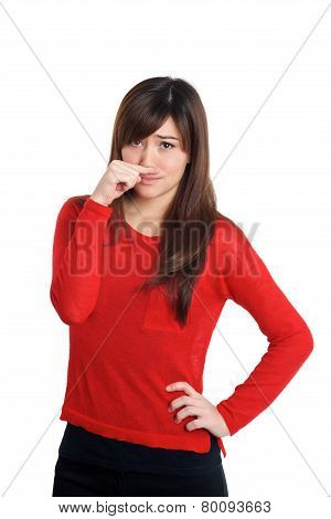Smelly Gesture Woman In Red
