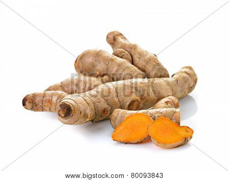 Turmeric On White Background