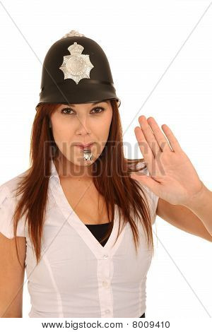 Beautiful Policewoman Blowing Whistle