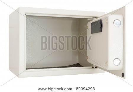 Open electronic safe  isolated on a white background with clipping path