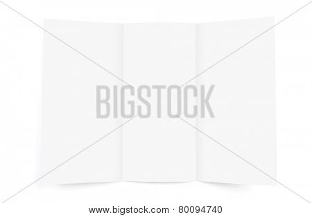 Blank white Brochure paper on white background