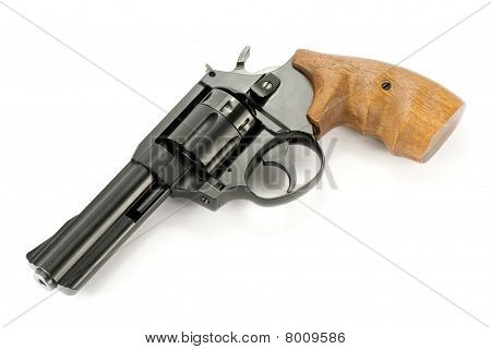 revolver gun with wooden handle