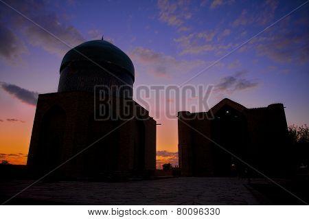 Mausoleum of Khoja Ahmed Yasavi at sunset in Turkistan, Kazakhstan.