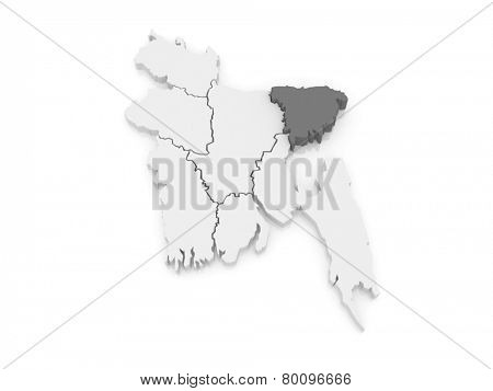 Map of Sylhet. Bangladesh. 3d