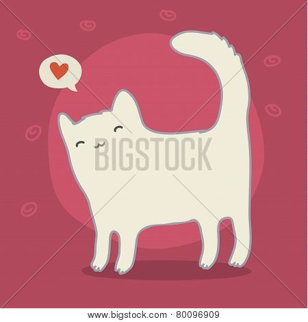 Cute white cat on pink