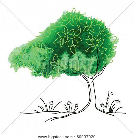 Vector watercolor tree - Season concept - Summer.