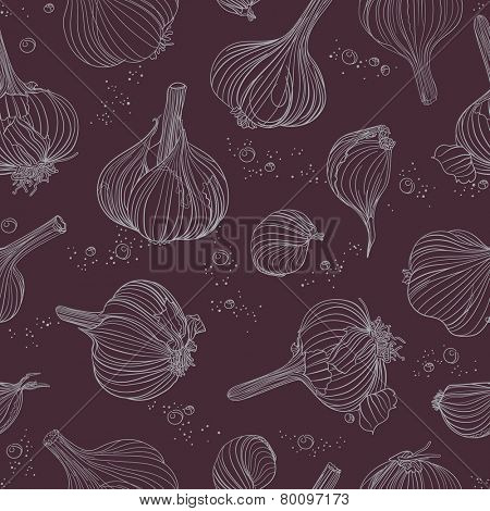 Seamless pattern - garlic, white objects on dark purple background. Hand drawing.