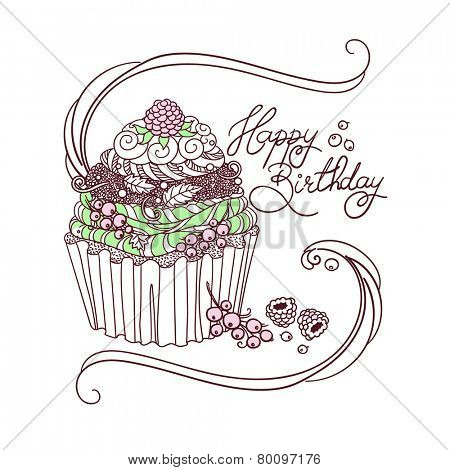 Hand drawing of birthday cupcake with text Happy Birthday.